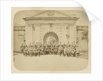 Group portrait of officers of the KNIL for the port of fort Nieuw Victoria in Ambon Indonesia by Anonymous