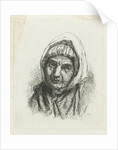 Face of an old woman with a headscarf by Jacob Taanman