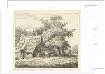 Farm with wife at the door and a man with a wheelbarrow on path by Anthonie van den Bos
