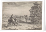 Landscape with Woman and a cow by Adriaen Oudendijck