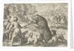 Landscape with bear hunting, Egbert Jansz., Antonio Tempesta by Johann Theodor and Johann Israel de Bry