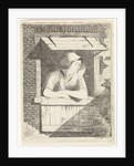 A woman with a hood on the head leaning out a window with horizontal blinds by J.H. Pluygers