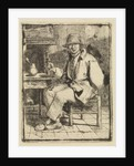 Smiling man with glass in hand by Johannes Huibert Prins