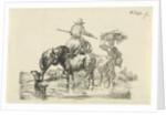 shepherd and shepherdess wade through a stream by Frederik Cornelis Rose