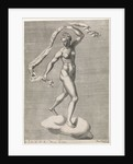 Diana as the moon goddess Luna on a cloud, the moon on the forehead, from a series of prints with planets by Pieter Valck