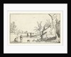 Farm with frozen river with skaters on the ice by Claes Jansz. Visscher II