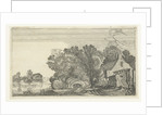 Farmhouse between trees on a river by Anonymous