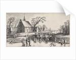 Winter Landscape with Skaters near a village by Jan van de Velde II
