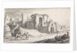 Farmer with a horse on a road along a castle by Jan van de Velde II
