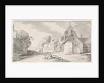 Resting farmers along a road in a village by Jan van de Velde II