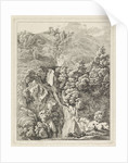 Rocky Landscape with a waterfall by Hendrik Voogd