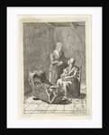 Two women and a crib by Pieter Kikkert