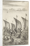 At sea soldiers fight against each other in galleys and in simple rowboats by Abraham Dircksz Santvoort