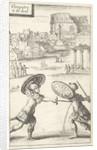 Two men fighting in armor by Gerrit van Goedesberg