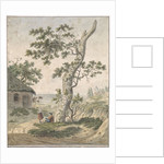 Landscape with a man and woman at a tree by Johannes Groenewoud Jansz