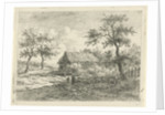 Landscape with two figures on a road by Gerrit Jan Michaelis