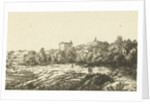 Hill landscape with ruins of church or monastery by Dirk Vis Blokhuyzen