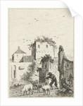 Shepherd with sheep in a village by Hendrik Meijer