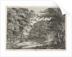 Landscape with chapel between trees and reading monk by Adriaan Jacob Willem van Dielen