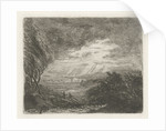 Landscape with two figures in storm and rain by Willem Matthias Jan van Dielen