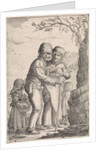 Farmer Couple and three children in a tree by Anonymous