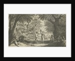 Orgy partying with satyrs and wood nymphs in the forest, A couple dances in the middle by Willem Basse