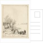 Frozen river sledging with children by Dirk Langendijk