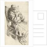 Old man sitting in an armchair by Salomon Koninck