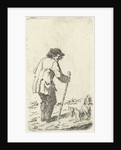 Old man leaning on a stick by Johannes Bisschop
