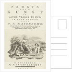 Title page for: P.J. Kasteleijn, Essay on the art to be always cheerful. In four songs by Albrecht Borchers