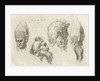 Study Sheet with four heads, two with a mitre by D. van den Bosch