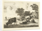 Cows and sheep lying in meadow for farm by Johannes van Cuylenburgh