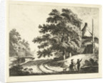 Landscape with Rick on mound on road along ditch by Johannes van Cuylenburgh