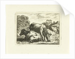 Two cows along road at farm by Johannes van Cuylenburgh