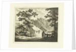 Landscape with farm house and yard with fence by Johannes van Cuylenburgh