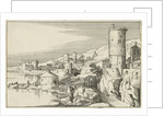 City with several towers on the waterfront in the foreground is a road under a gate by Willem van Nieulandt II
