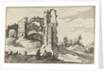 A ruin with a gate, perhaps the Porta Furba in Rome Italy by Willem van Nieulandt II