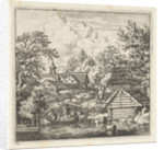View of a village on the water, in the foreground two men in a boat and on the shore a few wooden barrels by Allaert van Everdingen