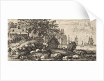 River Landscape with two rowboats by Allaert van Everdingen
