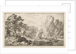 Landscape with rock by the water by Allaert van Everdingen
