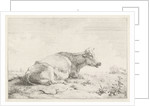 Lying cow and thistle by Pieter Gerardus van Os