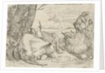 Three cows and two shepherds by Jan van Ossenbeeck