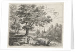 Landscape with a shepherd and in the distance a church near the water by Lucas van Uden