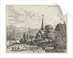 Landscape with a river running through a small village with a church by Lucas van Uden
