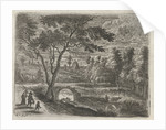 Landscape with a ruined bridge, a shepherd with cows and a man with wife and child by Lucas van Uden