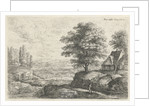 Landscape with a man with staff walking past a farm with well by Lucas van Uden