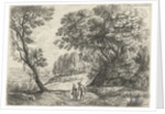 Landscape with a man and woman in conversation by Lucas van Uden