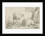 Two sheep and a goat by Barend Graat