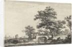 Figures at a stone bridge by Anthonie Waterloo