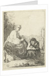 Old woman cuts the toenails of her mistress by Anonymous